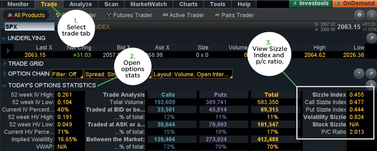 today's options statistics and sizzle index thinkorswim