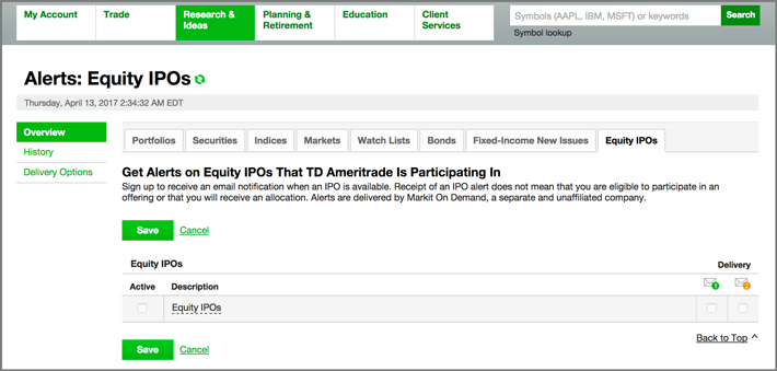 Equity IPO Alerts