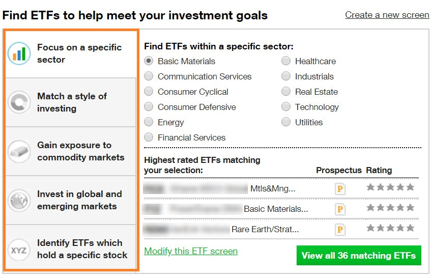 Finding ETFs to match investment goals