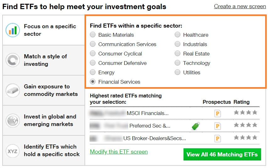 Filter ETFs by sector