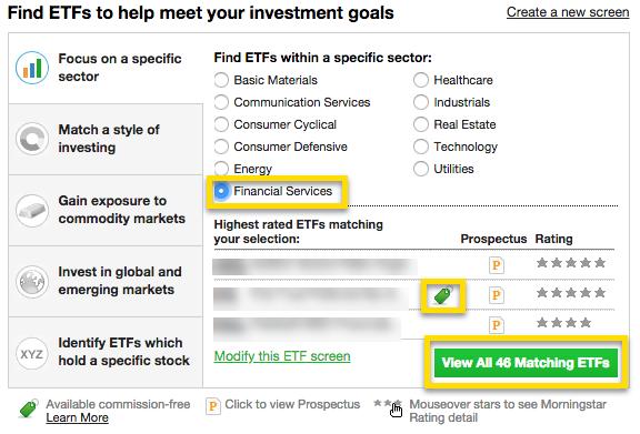 ETF sector screener