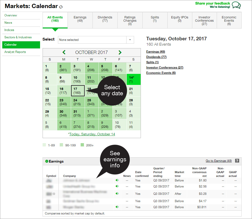 Earnings calendar tool