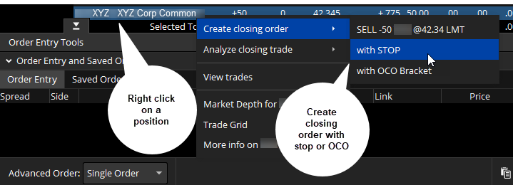 Closing out an order with a stop or OCO.