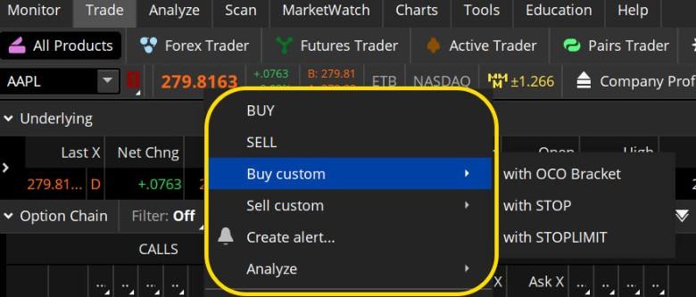 Creating a custom bracket stock market order