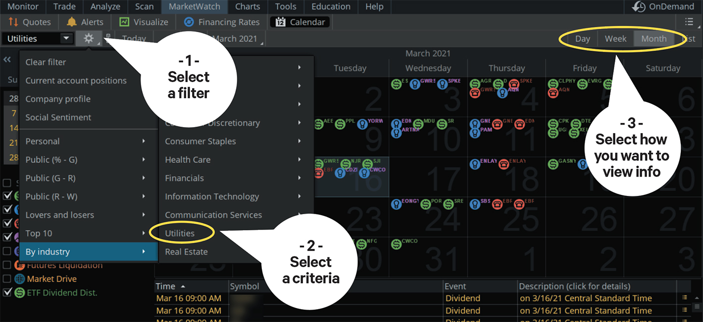 Using the thinkorswim calendar to know when earnings and dividend distribution dates