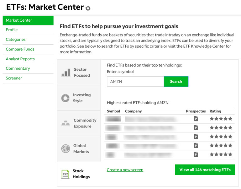 ETF Market Center on TD Ameritrade