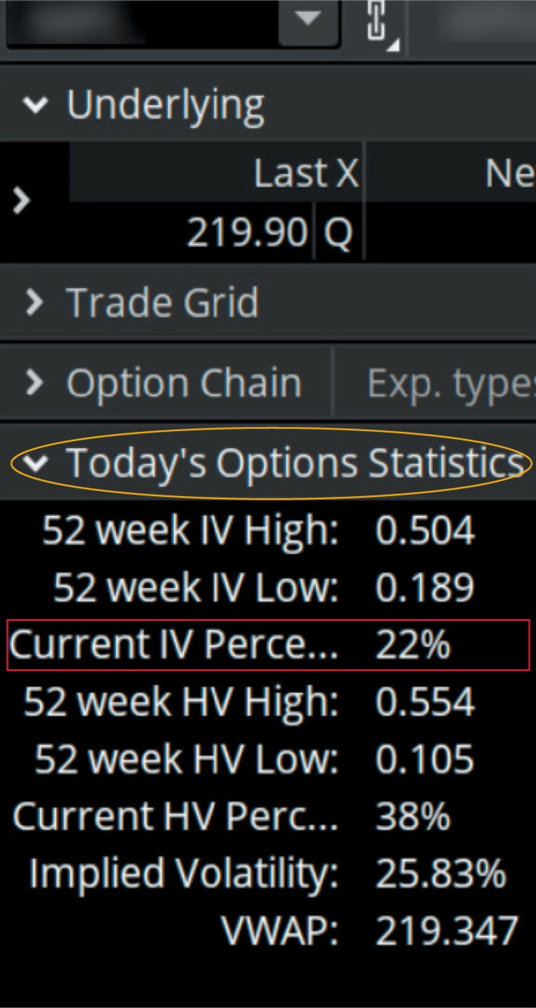 Options statistics: finding the implied volatility percentile