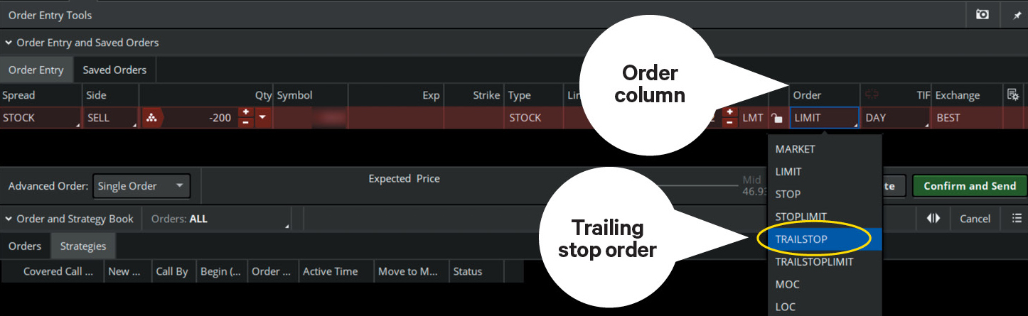 how to set a trailing stop in thinkorswim