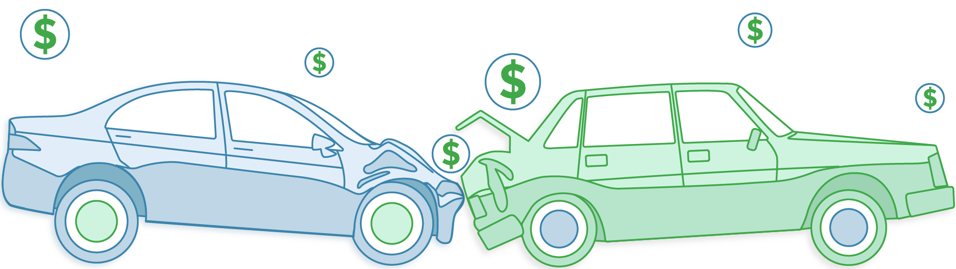 Illustration of a car collision and dollar signs around it