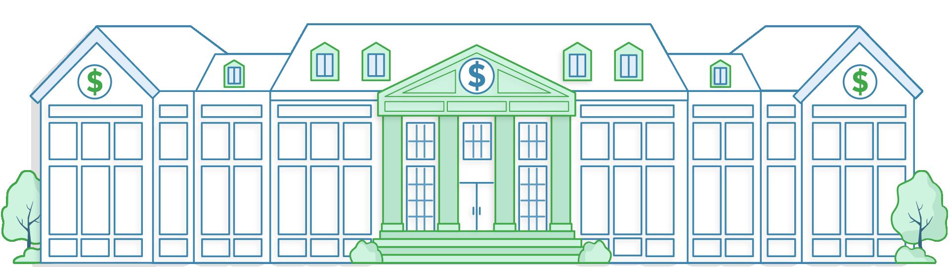 Illustration of a large bank building