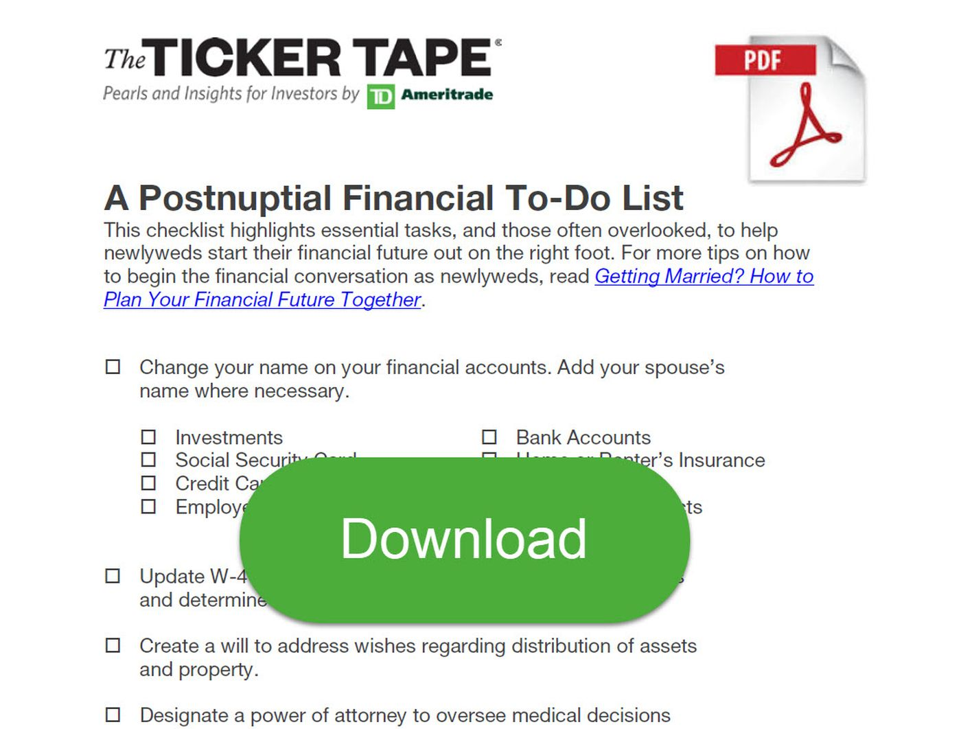 Postnuptial Financial To-Do List