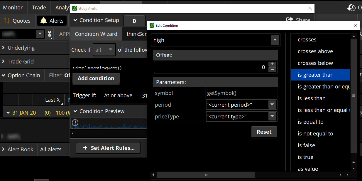 Setting trading alerts on the thinkorswim trading platform