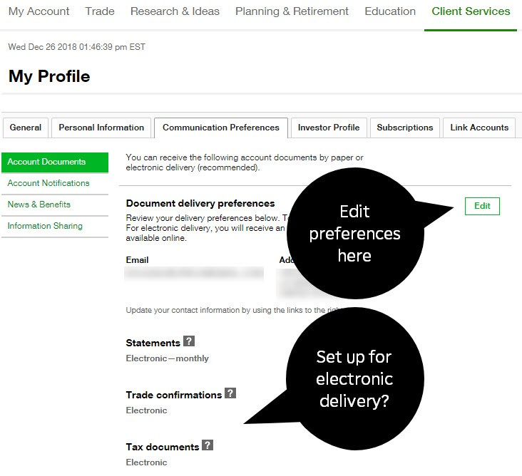 Change communication preferences and go paperless