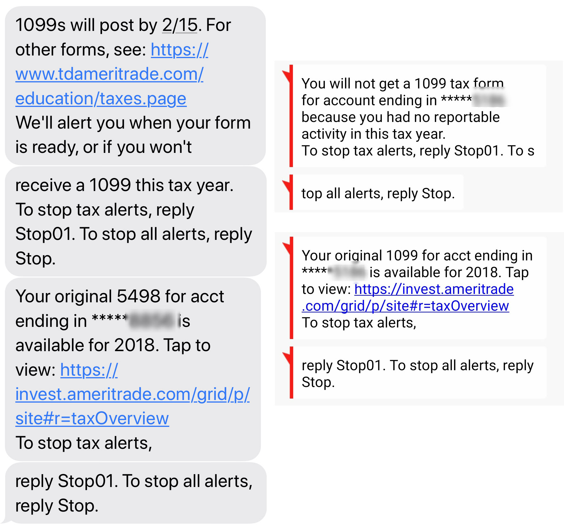Text alerts about tax forms