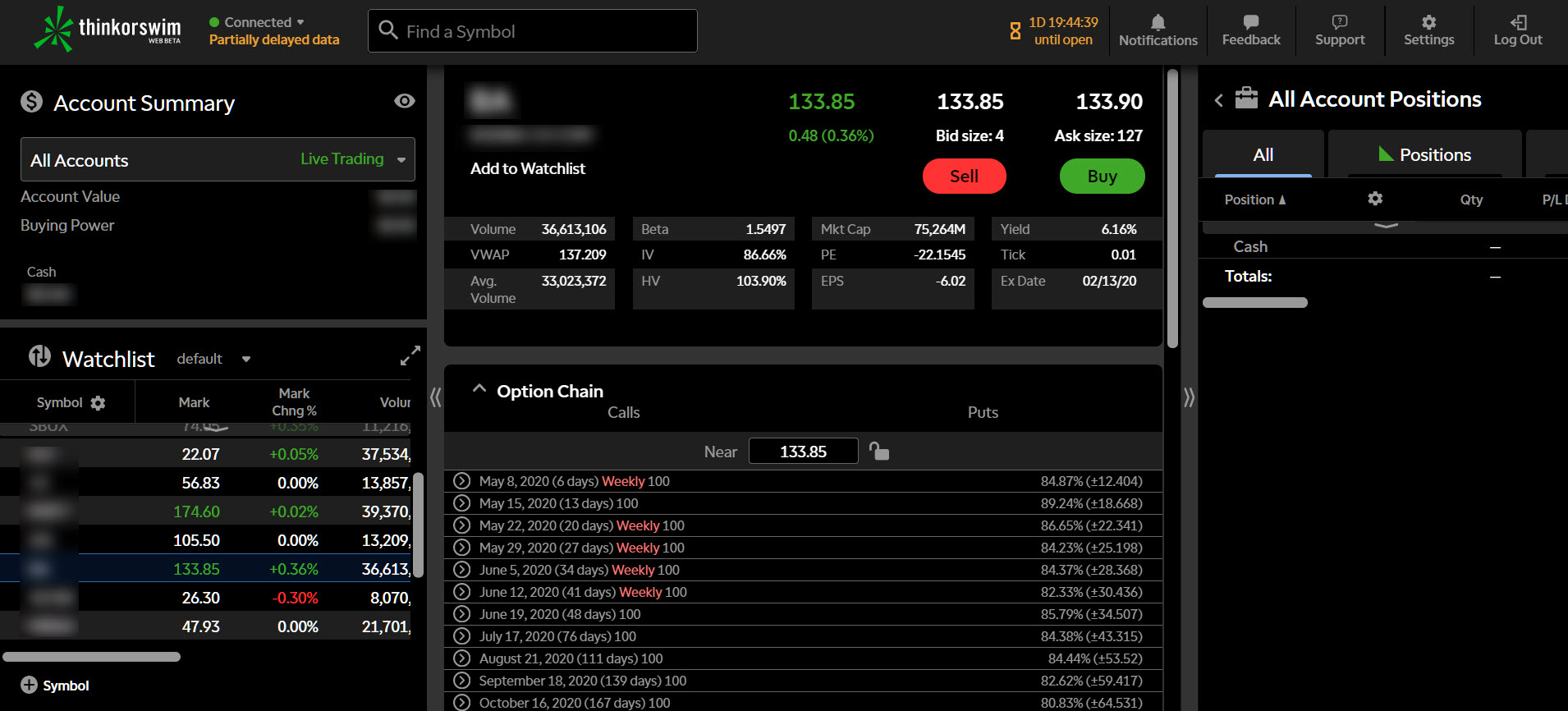 Default screen for thinkorswim Web