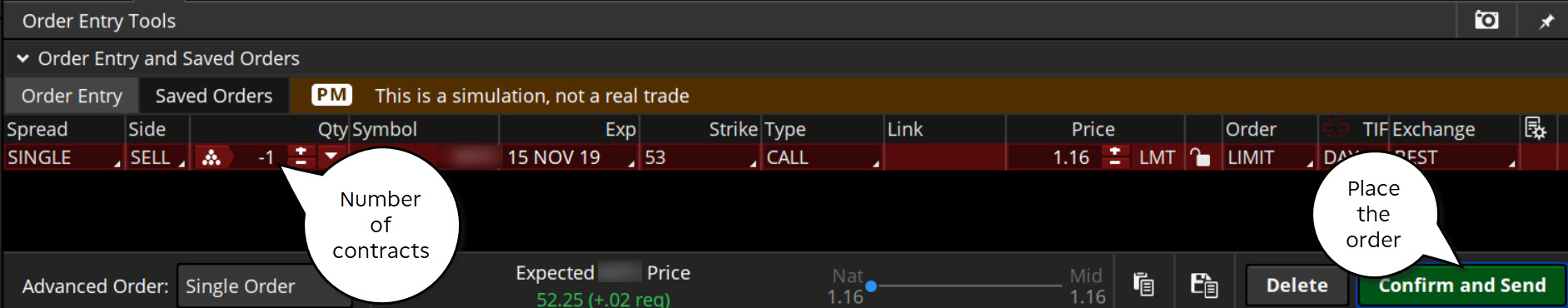 Options order entry